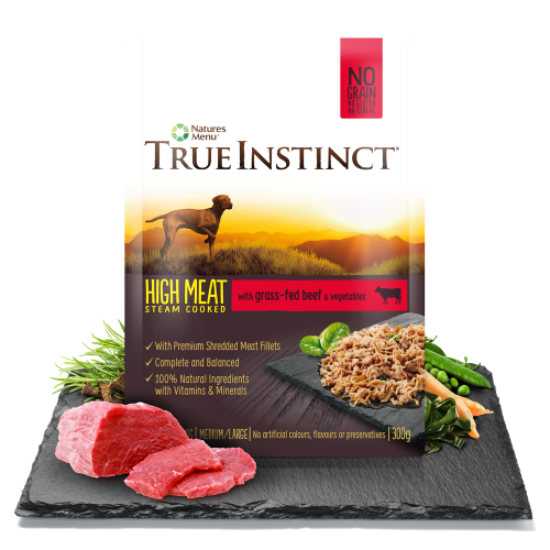 True Instinct High Meat Chicken Fillet with Grass-Fed Beef for Adult Dogs 300g Pouch