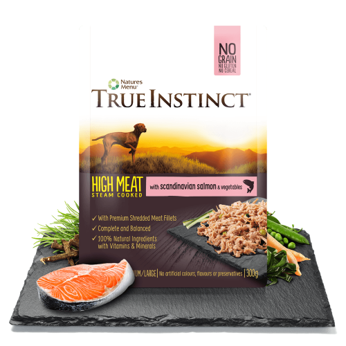 True Instinct High Meat Chicken Fillet with Scandinavian Salmon for Adult Dogs 300g Pouch