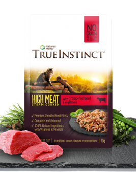 True Instinct High Meat Chicken Fillet with Grass-Fed Beef for Adult Cats 70g Pouch