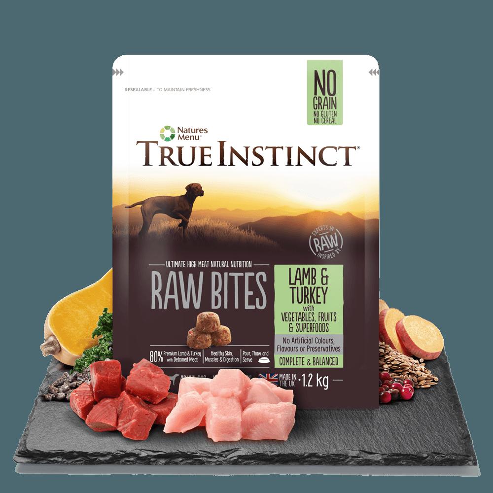 True Instinct Raw Bites Lamb and Turkey 1.5kg Bag