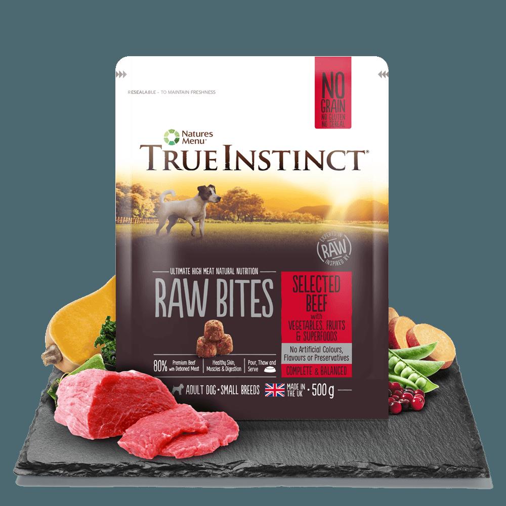 True Instinct Raw Bites Small Breed Beef 500g Bag