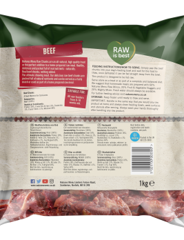 Natures Menu Beef Chunks Back of Pack