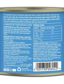 Country Hunter Dog Food Wild Boar 600g Can Back