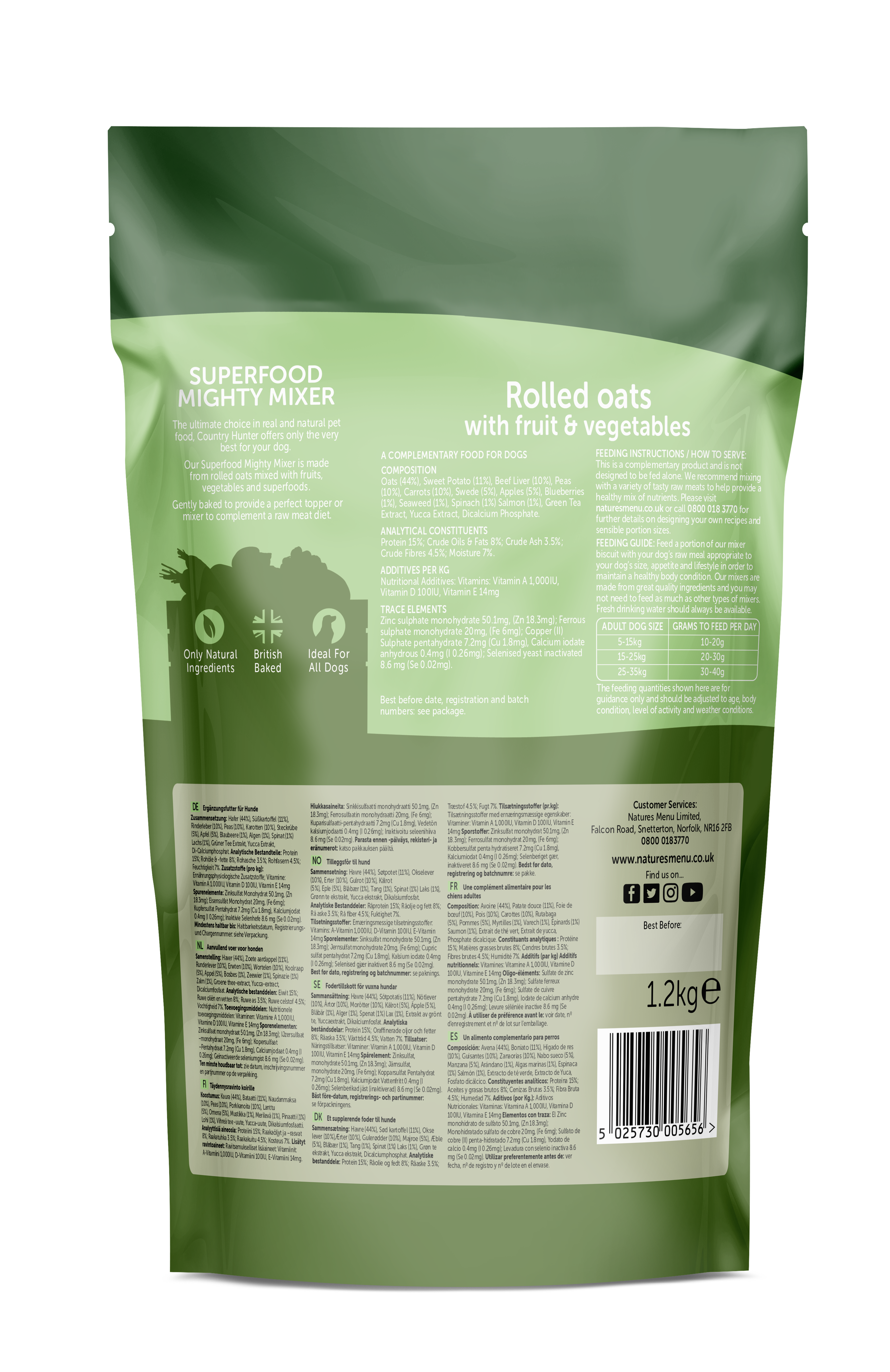 Country Hunter Superfood Mighty Mixer Rolled Oats with Fruit & Vegetables 1.2kg Back