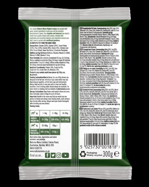 Natures Menu Original Raw Meals Chicken & Salmon 300g Back of Pack
