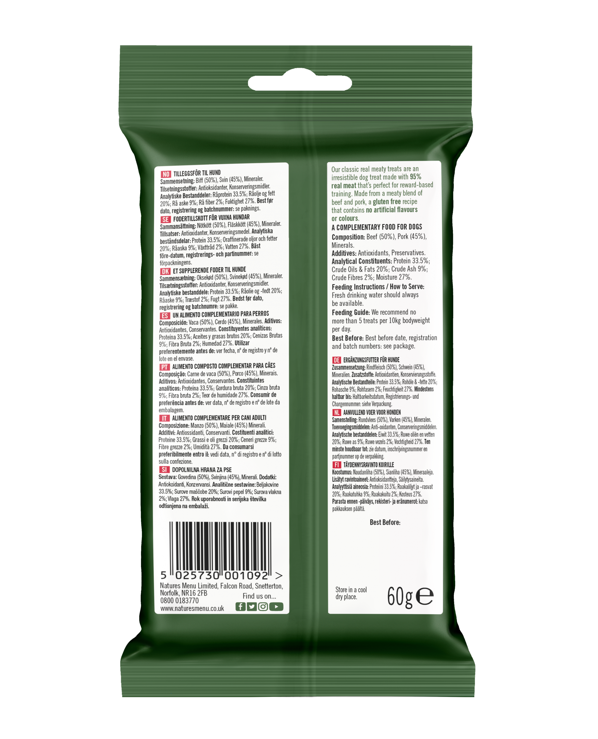 Natures Menu Real Meaty Dog Treats with Beef 60g Back of Pack