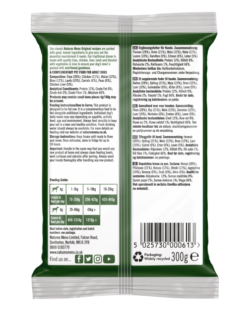 Natures Menu Traditional Dinner for Working Dogs 300g Back of Pack