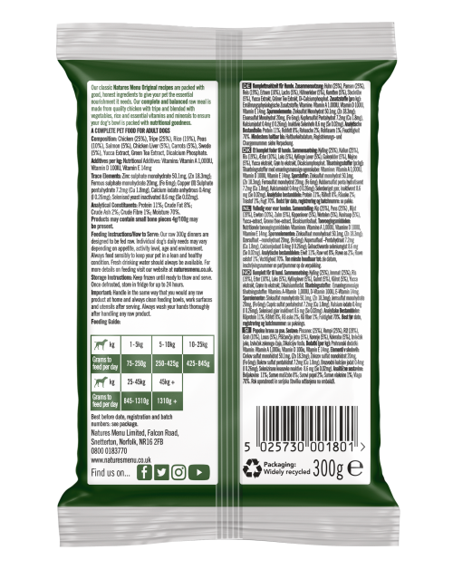Natures Menu Original Raw Meals Chicken & Tripe 300g Back of Pack