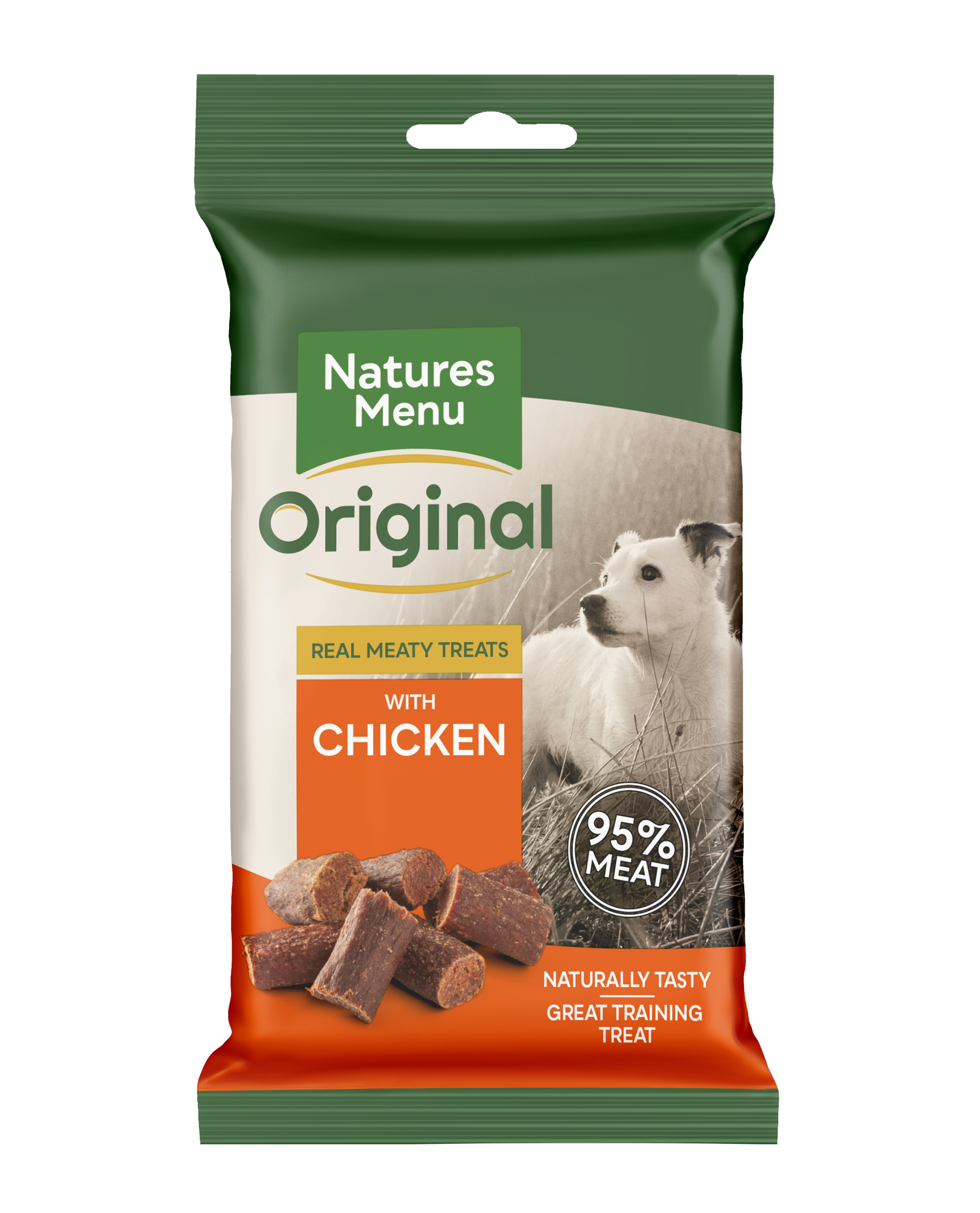 Natures Menu Real Meaty Dog Treats with Chicken 60g Front of Pack
