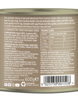 Country Hunter Dog Food Full Flavoured Rabbit 600g Can Back