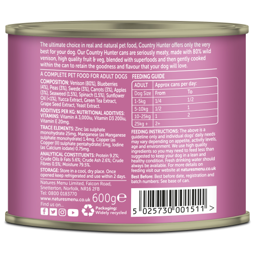 Country Hunter Dog Food Wild Venison 600g Can Back