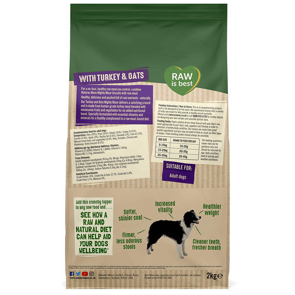 Natures Menu Natural Mighty Mixer with Turkey & Oats Back of Pack