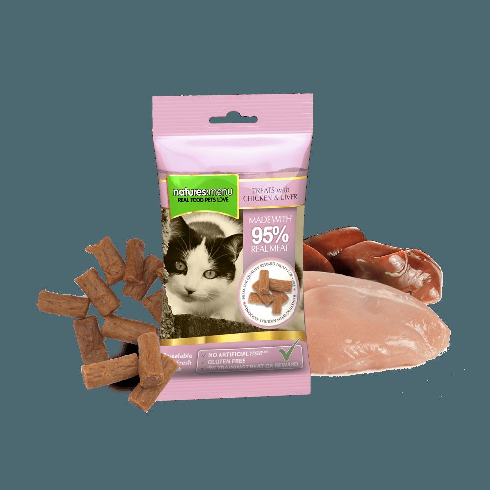 Natures Menu Real Meaty Cat Treats Chicken & Liver 60g Bag