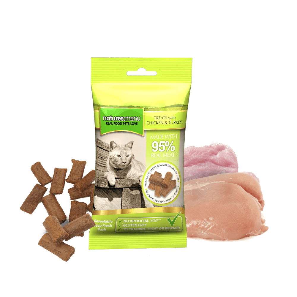 Natures Menu Real Meaty Cat Treats Chicken & Turkey 60g Bag