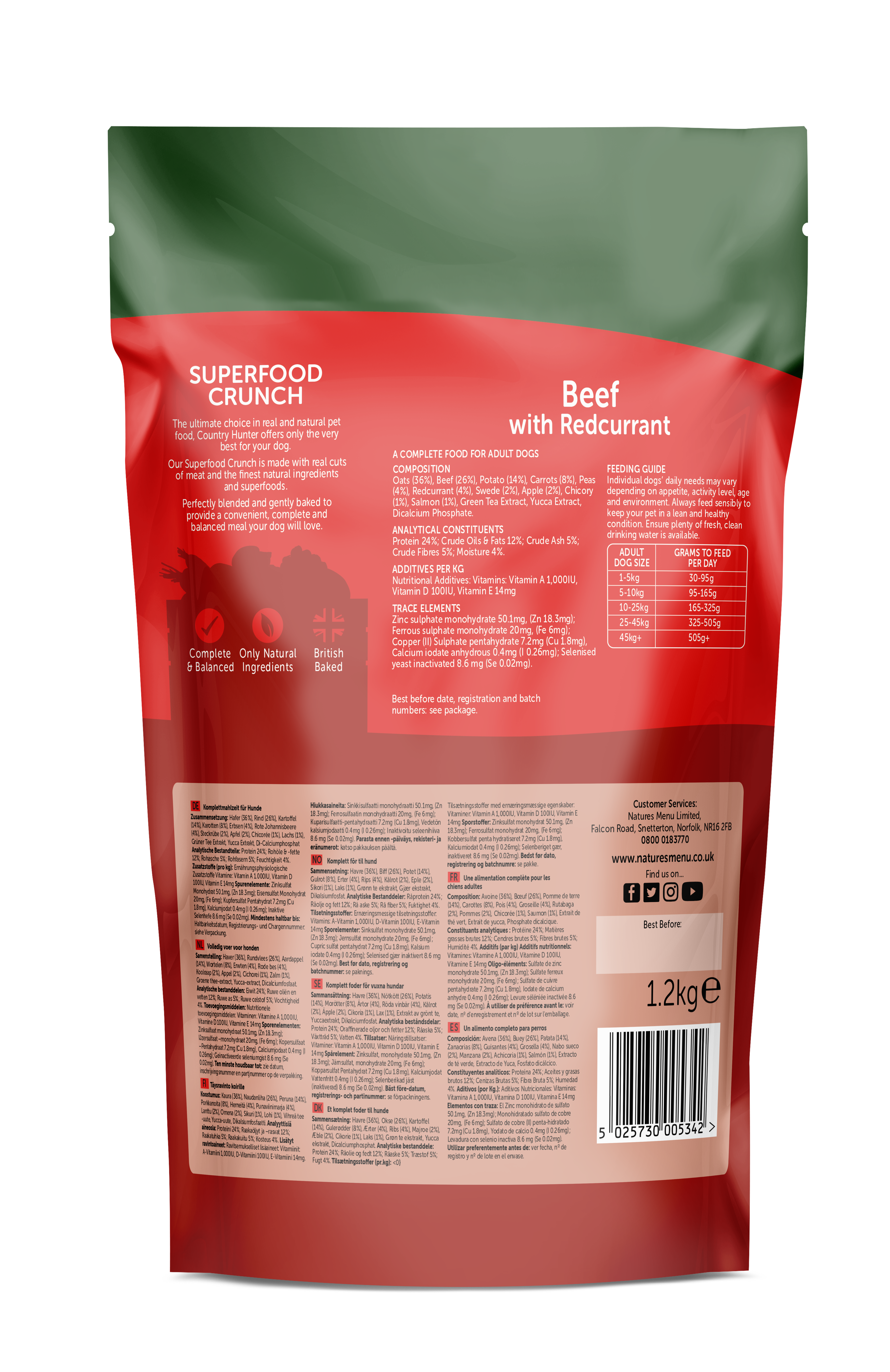 Country Hunter Superfood Crunch Adult Dog Beef with Redcurrant 1.2kg Back
