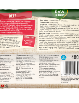 Natures Menu Beef Block 400g Back of Pack