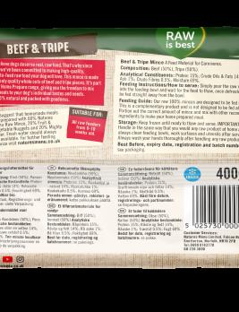 Natures Menu Beef & Tripe Block 400g Back of Pack