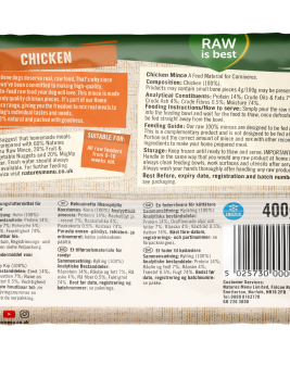 Natures Menu Chicken Block 400g Back of Pack