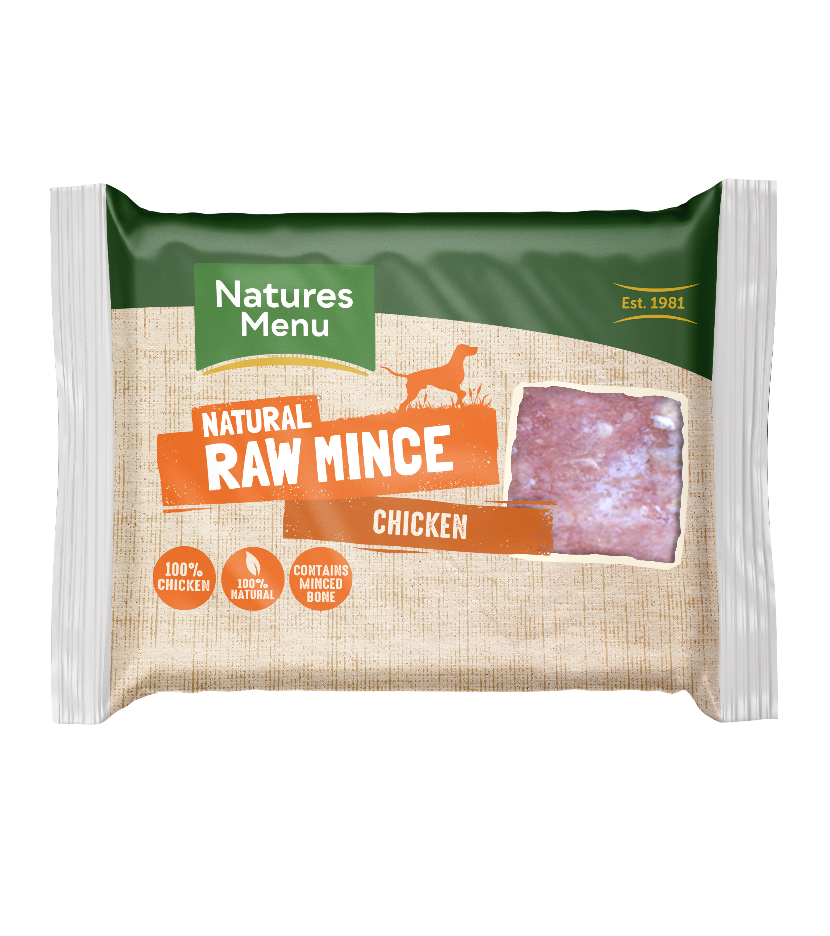 Natures Menu Raw Mince Chicken 400g Block Front of pack
