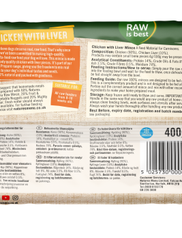 Natures Menu Chicken & Liver Block 400g Back of Pack