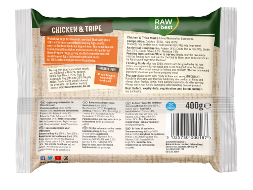 Natures Menu Chicken & Tripe Block 400g Back of Pack