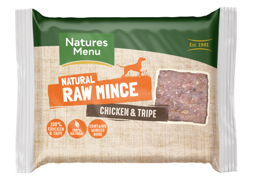 Natures Menu Chicken & Tripe Block 400g Front of Pack