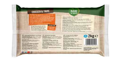 Natures Menu Freeflow Chicken & Tripe 2kg Back of pack