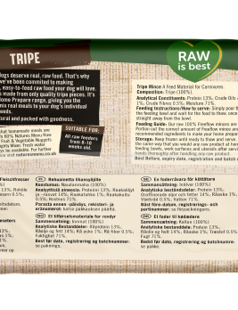 Natures Menu Freeflow Tripe 2kg Back of pack