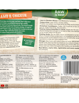 Natures Menu Lamb Block 400g Back of Pack
