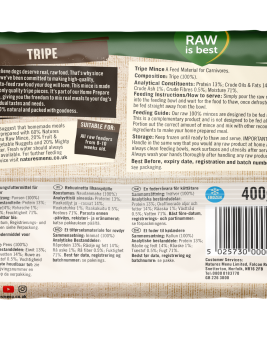 Natures Menu Tripe Block 400g Back of Pack