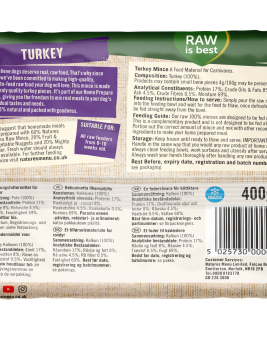 Natures Menu Turkey Block 400g Back of Pack
