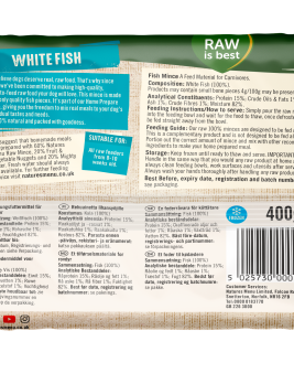 Natures Menu Fish Block 400g Back of Pack
