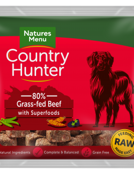 Natures Menu Country Hunter Nuggets Beef 1kg Bag Front of Pack