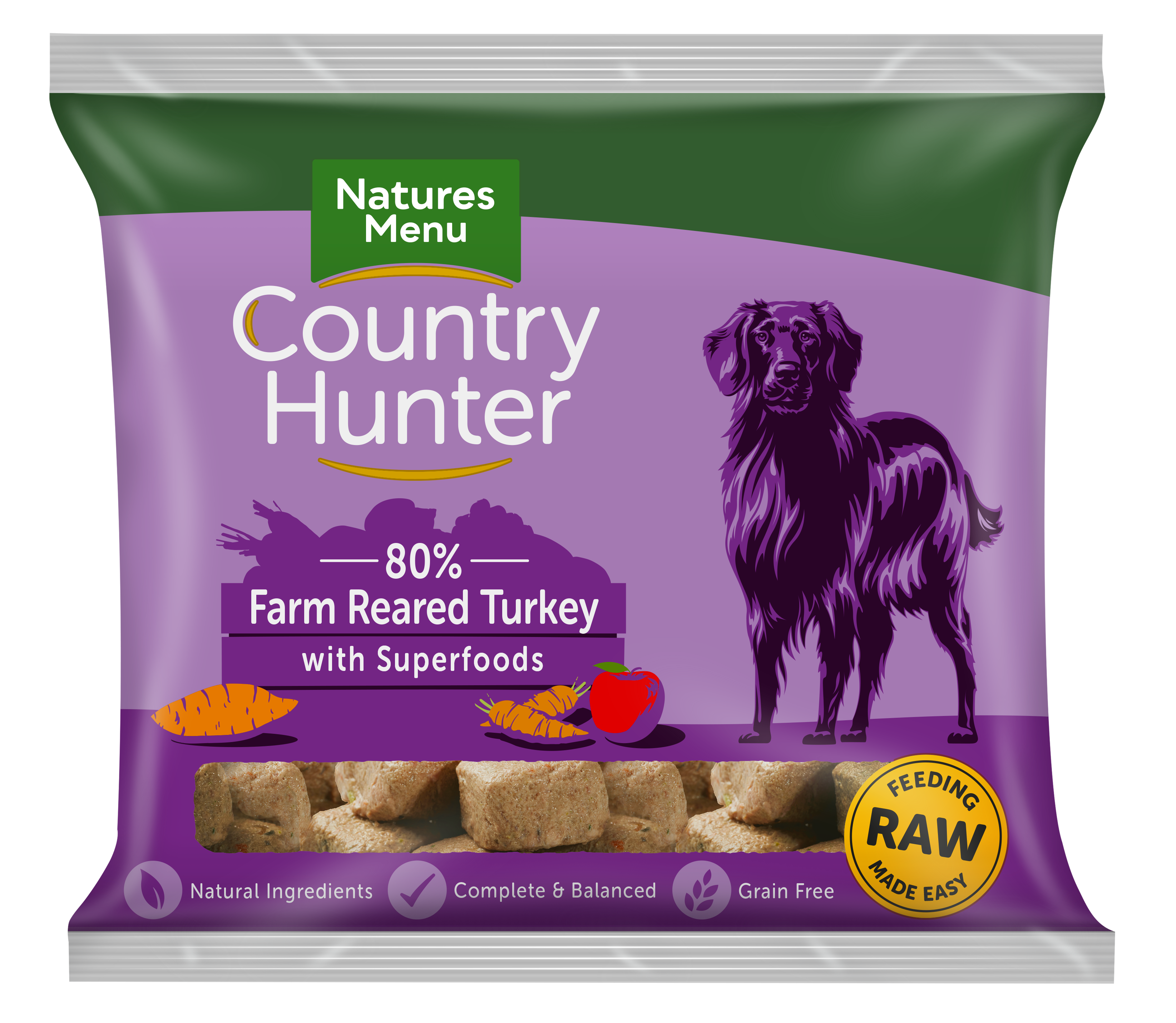 Natures Menu Country Hunter Nuggets Turkey 1kg Bag Front of Pack