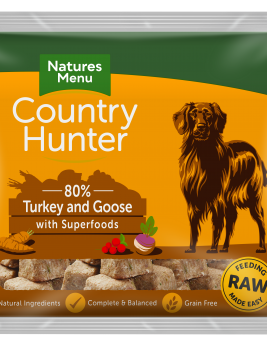 Natures Menu Country Hunter Nuggets Turkey & Goose 1kg Bag Front of Pack