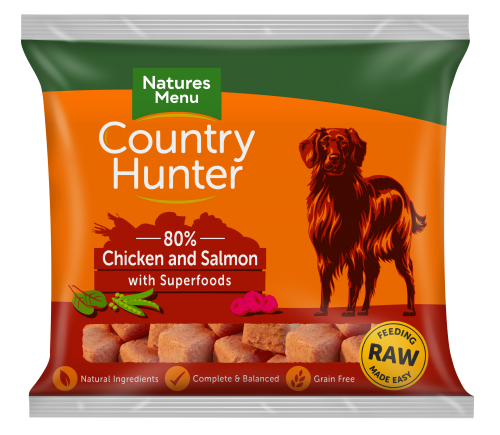 Natures Menu Country Hunter Nuggets Chicken & Salmon 1kg Bag Front of Pack