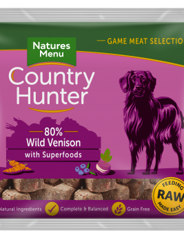 Natures Menu Country Hunter Nuggets Venison 1kg Bag Front of Pack