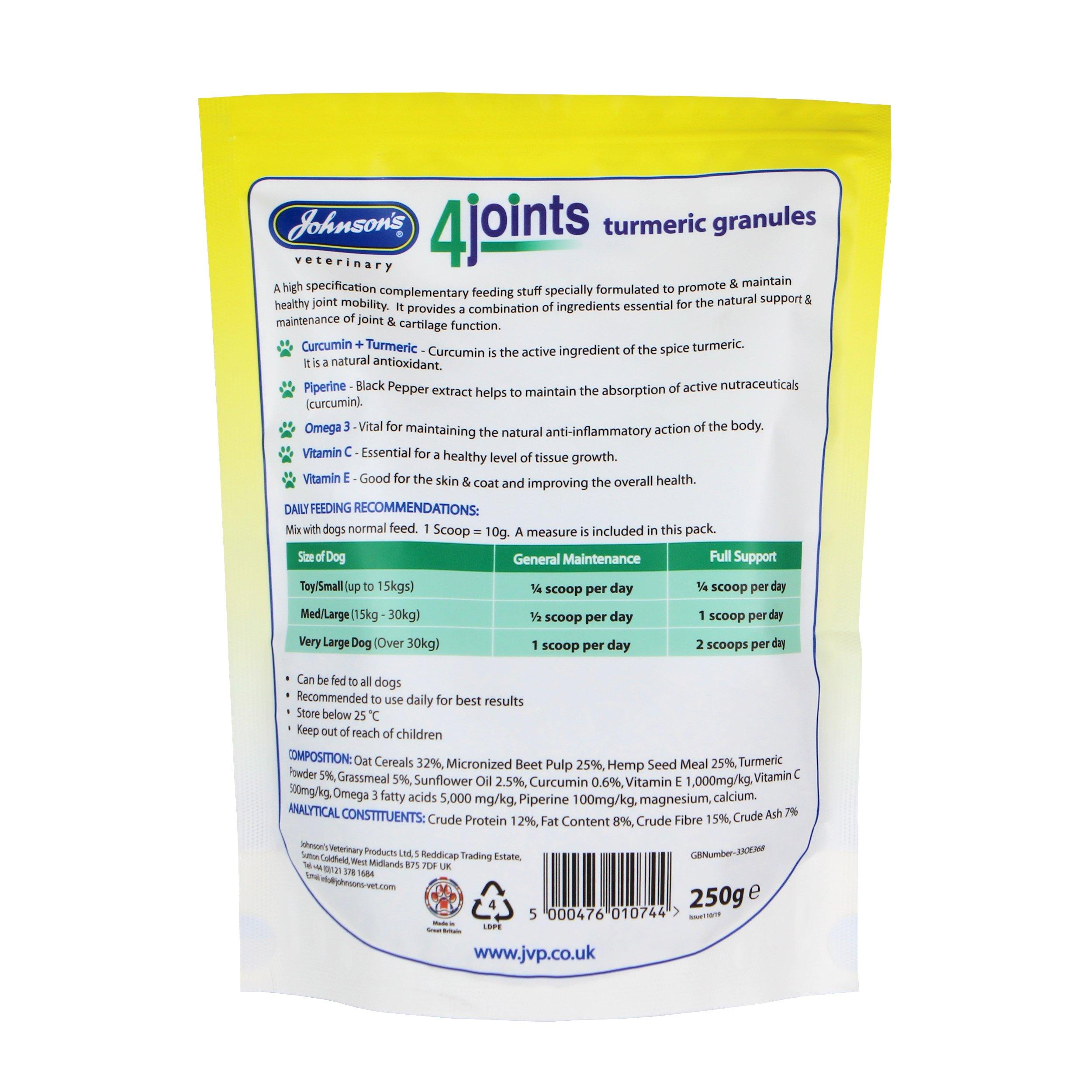 Johnson's 4Joints Turmeric Granules Back of Pack