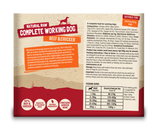 Natures Menu Working Dog Beef & Chicken 2 x 500g Back of Pack