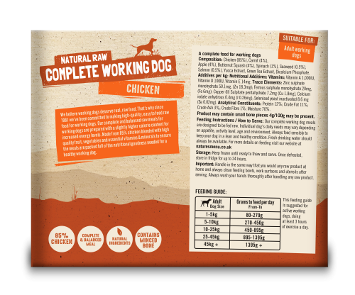 Natures Menu Complete Working Dog Chicken 2 x 500g back of Pack