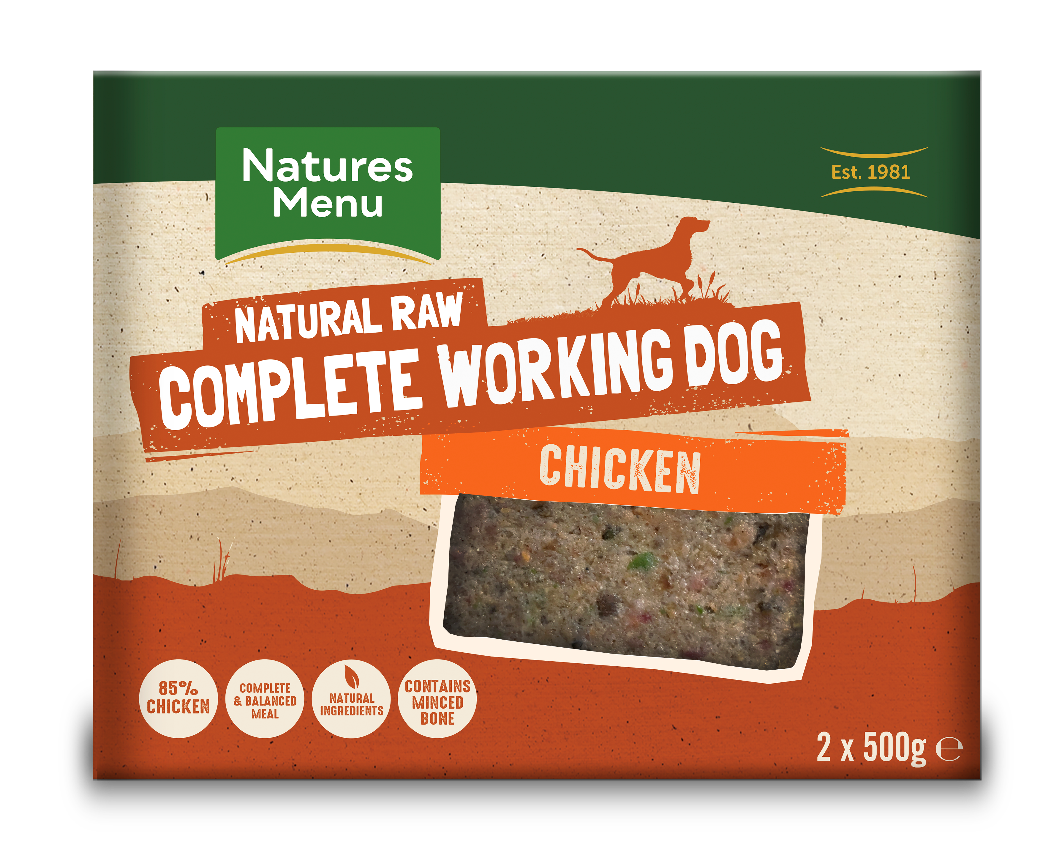 Natures Menu Complete Working Dog Chicken 2 x 500g Front of Pack