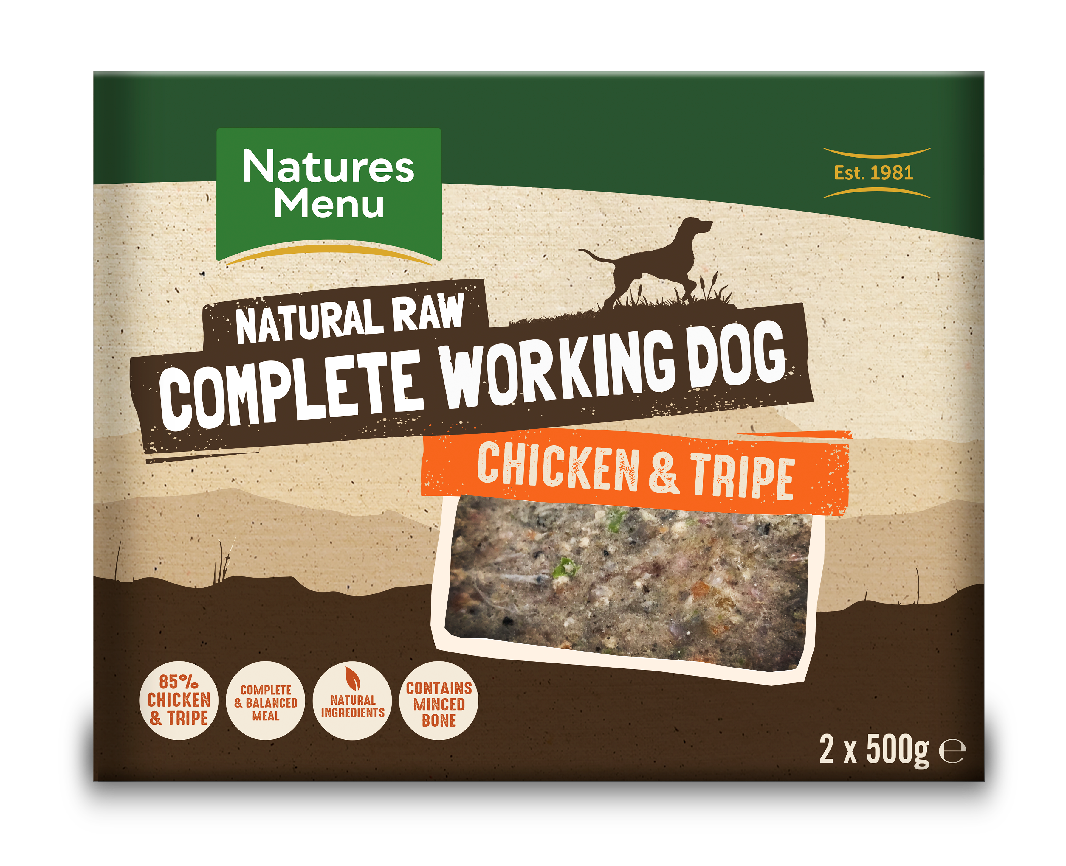 Natures Menu Working Dog Chicken & Tripe 2x500g Front of Pack